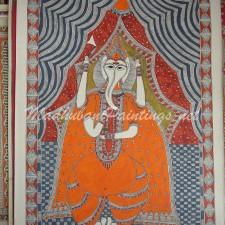 Ganesha-Yellow with Parsu - Madhubani Painting